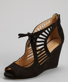 Another great find on #zulily! Black Elisha Cutout Wedge by Mark  Maddux #zulilyfinds