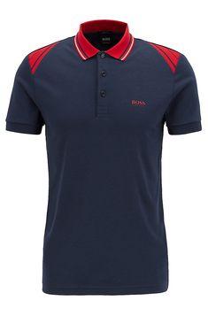 Slim-fit polo shirt with stripe details, Dark Blue Black Polo Shirt, Blue Polo Shirts, Mens Designer Polo Shirts, Slim Fit Polo Shirts, Camisa Polo, Hugo Boss Man, Sporty Look, Sport T Shirt, Menswear