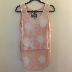 HP YFB Sleeveless Tie-Die Chiffon Top Young Fabulous and Broke High-Low Top. 100% Modal/ Contrast 100% Viscose. Sherbet/pink tie-die, sheer viscose layer in back with rounder hemline. Excellent used condition. Size XS with loose, relaxed fit.                                Host Pick 3/25/2016- Best in Tops Young Fabulous & Broke Tops Tank Tops