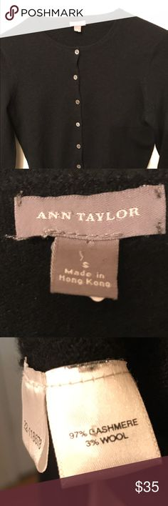 Beautiful Black Ann Taylor cashmere sweater. Beautiful black Ann Taylour cardigan cashmere sweater in excellent condition. No rips tears or stains. Very classy garment! Sweaters Cardigans