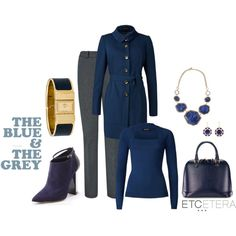 """""""Etcetera: Blue and grey."""" by etcetera-nyc on Polyvore"""