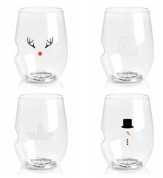 TOPRACK 'CHARMED' HOLIDAY ICONS | 16-OZ RED WINE 4 PACK