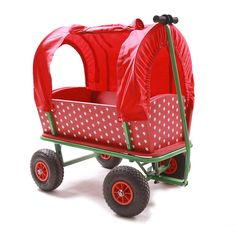 red cart with cushions side