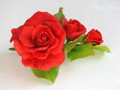 ручная работа Ветка с тремя красными розами для свадебной прически. Handmade.
