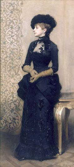 La Femme aux Gants, dite La Parisienne by Charles-Alexandre Giron.  Gorgeous gown!