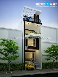 mặt đứng nhà phố - Buscar con Google Narrow House Designs, Modern Small House Design, Small House Exteriors, Small Tiny House, House Front Design, Container Home Designs, Parking Plan, Casa Loft, Modern Townhouse