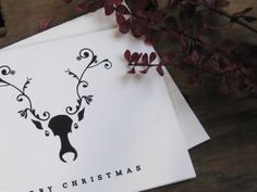 Classic Reindeer Christmas Card Set of 6 Cards by StudioMachte, $10.00
