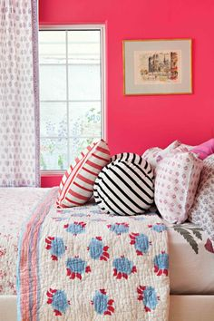 Colourful pink bedroom wall