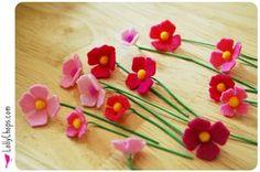 Felt Flower Bouquet tutorial, using the Sizzix to cut the shapes {lollychops.com}