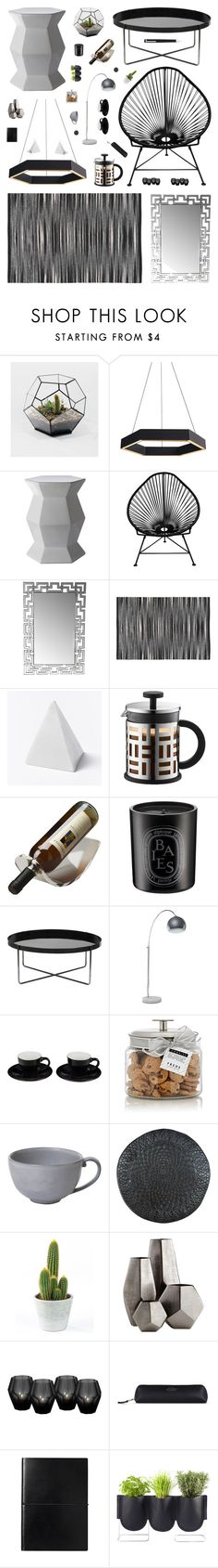 """""""Black, White & Gray Geometric Decor"""" by belenloperfido on Polyvore featuring interior, interiors, interior design, home, home decor, interior decorating, Innit, Privilege, West Elm and Bodum"""