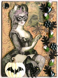 Halloween Marie ATC by Kris Dickinson, Nostalgic Collage'  http://nostalgiccollage.blogspot.com/
