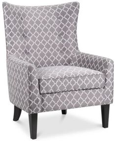 Image 1 of Brie Printed Fabric Accent Chair, Quick Ship Furniture, Fabric Accent Chair, Accent Furniture, Mattress Furniture, Armchair, Leather Chair, Accent Chairs, Fabric Accents, Upholstered Chairs