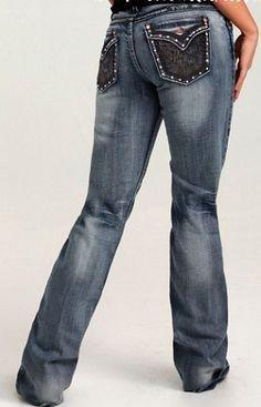 SALE Cowgirl Tuff® Ladies Lace Black Pockets Jeans