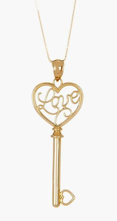 14K Yellow Gold Shiny Box Love Script Centered Key Pendant Necklace