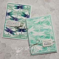 Stamp A Latte - Leonie Schroder Stampin' Up!® Demonstrator Australia - Stampin' Up! with Leonie Schroder Independent Stampin' Up! DemonstratorAustralia #stampinup #dandygarden #2cardsfrom1 #dragonfly #mask #lasercut #notecards #stampalatte