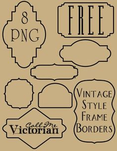 Free set of 8 frame borders that are in PNG format w/ a transparent background. The clipart is designed w/ vintage labels or bookplates in mind and can be incorporated into digital scrapbooking layouts as frames for photos. Used in blog headers or to make banners. Use as a background or decorative design element in various digital crafts. @ DIY Home Design
