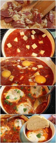 Aprenda como fazer FÁCIL: Ovos Rancheiros – cozidos no molho de tomate e linguiça #ovos #ovoscozidos #comida #culinaria #gastromina #receita #receitas #receitafacil #chef #receitasfaceis #receitasrapidas