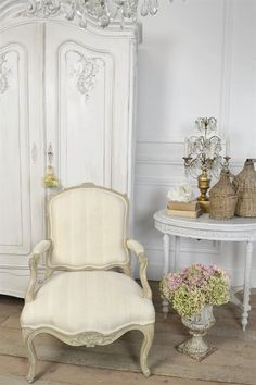 Vintage French Chair in Silk Stripe from Full Bloom Cottage