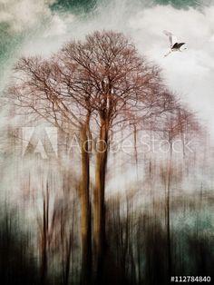 Bird flying away from tall trees