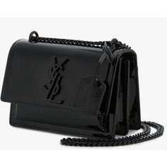 Saint Laurent Small Black Patent Sunset Monogramme Bag ($1,995) ❤ liked on Polyvore featuring bags, handbags, bolsas, yves saint laurent, patent leather purse, purse bag, handbag purse and yves saint laurent handbags