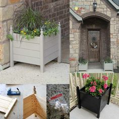 Best selection of free woodworking DIY plans for building a square planter box. Square planters for every style and taste. Planter Box Designs, Square Planter Boxes, Planter Box Plans, Diy Wood Planters, Wooden Planter Boxes, Wood Planter Box, Porch Planter, Backyard Projects, Diy Pallet Projects