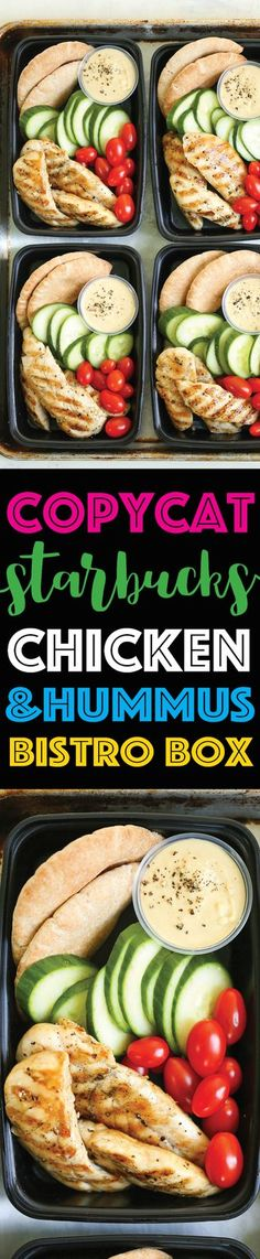Copycat Starbucks Chicken and Hummus Bistro Box - Meal prep for the week ahead! Filled with hummus, chicken strips, cucumber, tomatoes and wheat pita. (Whole 30 Chicken Strips) Lunch Meal Prep, Meal Prep Bowls, Healthy Meal Prep, Healthy Snacks, Healthy Eating, Healthy Recipes, Keto Recipes, Lunch Snacks, Lunch Recipes