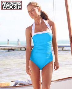 3121f2f876 Lauren Ralph Lauren Ruched Tummy-Control Halter One-Piece Swimsuit Modest  Swimsuits, Cute