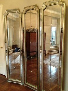French Tri Fold Screen Floor Mirror