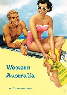 A Vintage Western Australia Travel Poster. Surf, Sun and Sand.