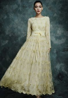 b2ca5dcaa3acd Embroidered Floral Organza Wedding Bridal Formal Bridesmaid Boho Prom Maxi  A-line Dress Full Pleated Skirt Ball Gown Party Golden New Year