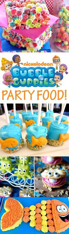Bubble Guppies party food ideas!  Goldfish marshmallow pops, M&M fish cupcakes, Mr. Grouper cupcake cake, goldfish cracker buffet and more!