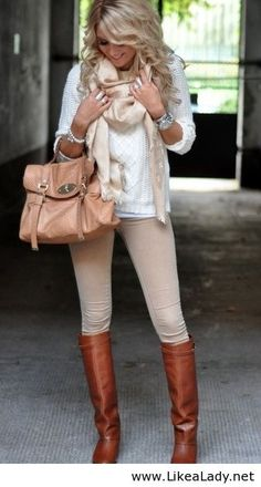 Cute with a nude touch to it, leather riding boots are perfect for fall!
