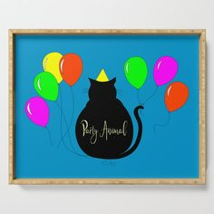 Buy Party Animal Black Cat Serving Tray by Notsundoku | Society6 #cats #blackcats #party #birthdays #balloons #cats #celebrate #Notsundoku  #Society6 #happybirthday #ServingTrays #kitchenware #entertaining #homedecor #worldwideshipping