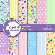 80%OFF Unicorn digital papers Magical Unicorn by AMBillustrations