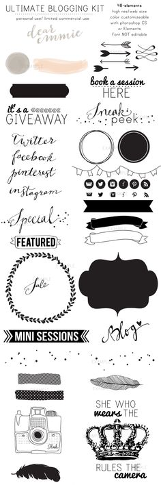 By Dear Emmie Designs 48 Blogging elements for your blog!