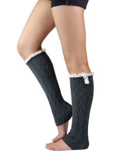 GRAY LACE LEG warmer boot socks, grey boot socks with lace trim edge and metal button, dark navy or gray leg warmer