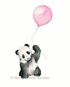 Panda Bear art print 11 X 14 inch print Pink by Marysflowergarden