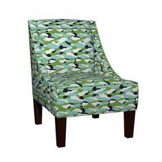 Venda Sloped Arm Chair featuring camo 4- aurora spring- Ocean by drapestudio   Roostery Home Decor