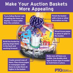 We know room parents are often contacted during school auction planning and asked to create a class basket that can be donated to the big event. For those of you who haven't spent much time putting together gift baskets, we've got a great resource for you from our friends at PTO Today.This illustration shows how you can make your basket look like it was assembled by a pro. Use these tips and, chances are, your basket will be a big hit (and money maker) at your school's auction.