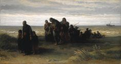 My favourite painting ever. No photo captures the depth of this piece. In real life its dark and beautiful - Jozef Israëls: 'Fishermen carrying a Drowned Man'