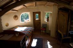cob house - bedroom. Other nice pics of this house.