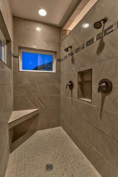 I love this two person shower! High window to outside, transom to the rest of the bathroom, shower heads on the same wall, niche (needs to be bigger), bench (maybe rectangle running the width at the end?) not crazy about the tile choice Master Bathroom Shower, Bathroom Renos, Bathroom Layout, Bathroom Interior, Modern Bathroom, Chic Bathrooms, Bath Shower, Diy Interior, Contemporary Bathrooms