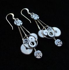 earrings asymmetrical coppertronic gears jewelry steampunk upcycled art