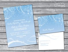 Frozen In Time Wedding Invitation! This Frozen inspired wedding invitation is featuring snowflakes and ice with lots of shimmer and shine. The bottom of the invite is filled with glittery snow in the wind. The matching rsvp postcard is double sided and also features the same winter wonderland! This listing includes: 5x7 Invitation 3.5 x 5 RSVP Postcard A7 Envelope  Choices: Quantity (increments of 25) Invitation Wording: you may submit your own invitation wording  Process: Select a quantity…