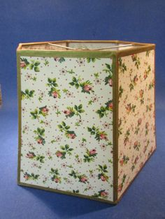 Mid Century Lampshade Pink Floral Six Sided Bedroom Light Lampshade