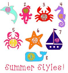Summer Styles- Dolphin, Squid, Crab, Seahorse, Starfish, Sailboat, Whale Monograms!