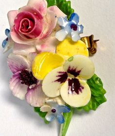 Made in England. Adderley is on the back. measures: 2 x 1 inches porcelain brooch Royal China Jewelry, Cool Things To Buy, Stuff To Buy, Flower Brooch, Vintage Flowers, Pansies, Vintage Jewelry, Porcelain, Bloom