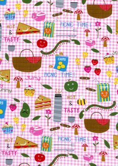 Fat Quarter Quilt Fabric Picnic Fun Fabric Pink by acquiltfabric, $2.10