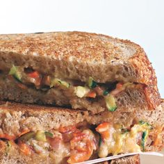 Lots of colorful vegetables and salsa make this cheesy panini prettier than any grilled cheese you've ever seen.