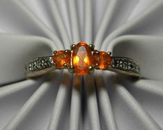 10k Solid Gold Mexican Fire Opal and Diamond Ring